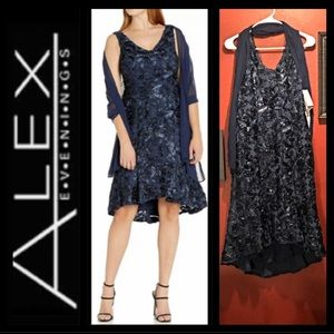 Alex Evenings Rosette 2 Piece Dress w/Shawl